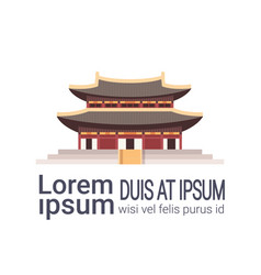 traditional korea temple building isolated on vector image