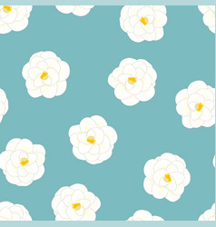 white camellia flower on light blue background vector image