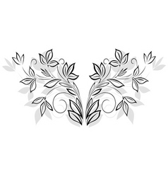 black floral pattern vector image vector image