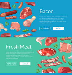 cartoon meat elements horizontalweb banners vector image vector image
