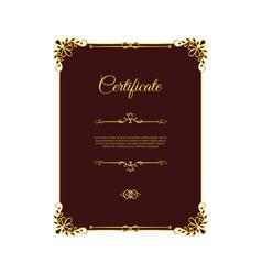 dark red certificate with golden elements vector image vector image