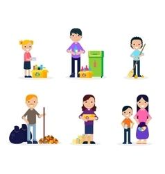 Garbage Cleaning Flat Set vector image