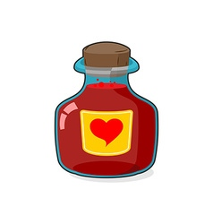 Love potion Bottle Glass vessel with wooden vector image vector image