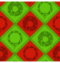 Christmas wreath seamless pattern vector image vector image