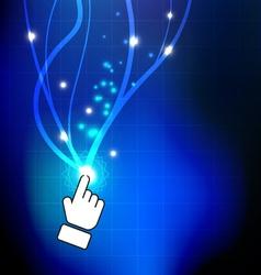 hand push magic button vector image vector image