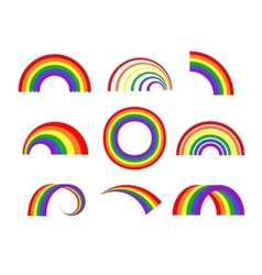 Set of rainbows white background vector image vector image