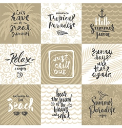 Set of summer holidays and vacation greeting cards vector image