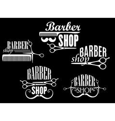 Vintage barber shop emblems on black background vector image vector image