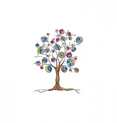 decorative art tree with fruit vector image vector image