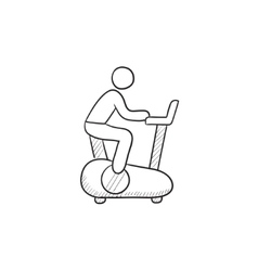 Man training on exercise bike sketch icon vector image