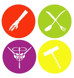 monochrome icon set with corkscrew forks and spoo vector image vector image