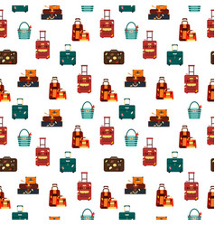 seamless pattern travel bags isolated on white vector image