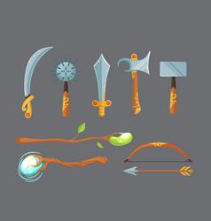 set of fantasy cartoon game design swords vector image vector image