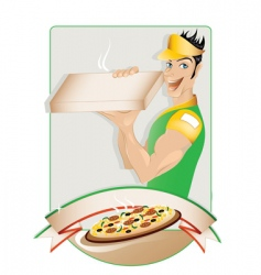 pizza delivery boy vector image vector image