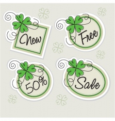set labels with clovers vector image