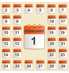 Set of icons for the calendar in February vector image
