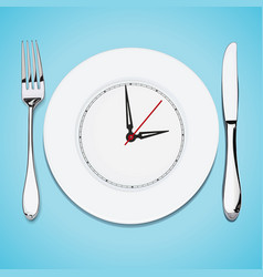 time lunch cutlery dish knife and fork vector image