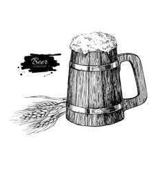 Wooden beer mug with wheat grain Sketch style vector image vector image