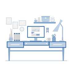 Workplace in flat style of modern vector