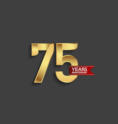 75 years anniversary simple design with golden vector