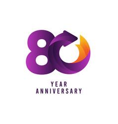 80 years anniversary gradient purple template vector