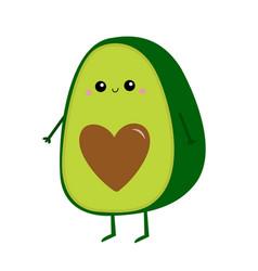 avocado icon heart shape seed cute cartoon kawaii vector image