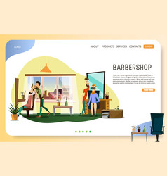 barber shop landing page website template vector image