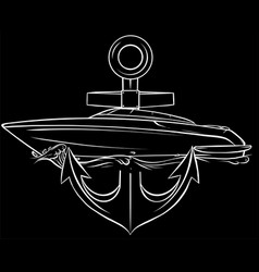 Boat with anchor in black background vector