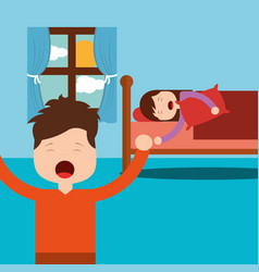 Boy standing and girl asleep in bed vector
