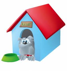 bull dog in his house vector image
