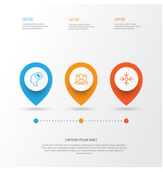 Business icons set collection of human mind social vector