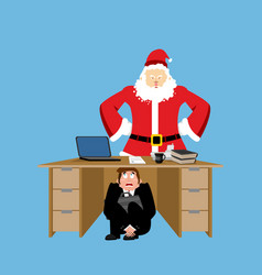 businessman scared under table of angry santa vector image