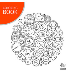 Buttons collection sketch page for your coloring vector