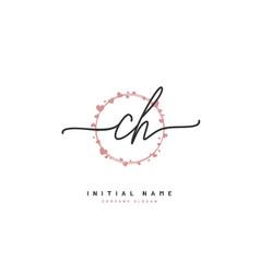 c h ch beauty initial logo handwriting logo vector image