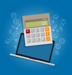 calculator laptop note book online accounting vector image