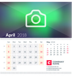 calendar for april 2018 week starts on sunday 2 vector image