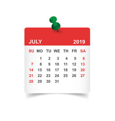 Calendar july 2019 year in paper sticker with pin vector