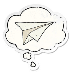 Cartoon paper airplane and thought bubble as a vector