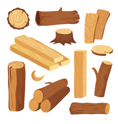 cartoon timber wood log and trunk stump and vector image