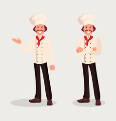 Chef cook in two poses vector