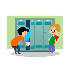 Children boys near lockers in locker room of vector