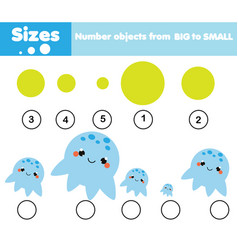 Children educational game learning sizes vector