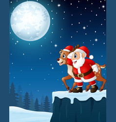 Christmas moon night background with santa claus a vector