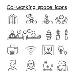co-working space startup icons set in thin line vector image
