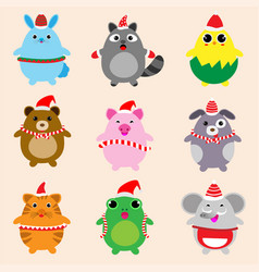 collection cute animals design with christmas vector image