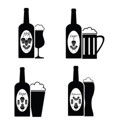 Collection of beer glass and bottle icons and vector