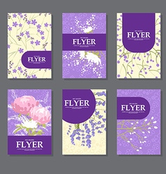 Collection square cards with delicate flowers vector