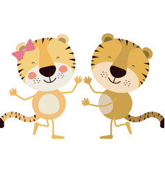 Colorful caricature with couple of tigers dancing vector