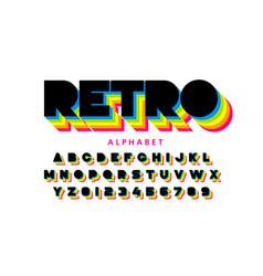 colorful retro font 80s style alphabet letters vector image