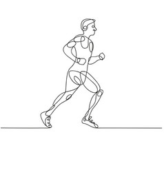 Continuous line drawing of runner -variable line vector